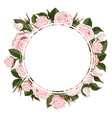circle greeting card on pink rose flowers vector image
