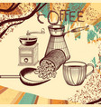coffee retro poster with hand drawn coffee mill vector image vector image