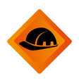 color square road sign with helmet icon vector image vector image