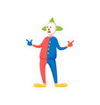 cool modern clown with green hair and colorful vector image vector image