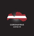 coronavirus in latvia and country flag inside vector image vector image