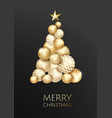 creative xmas tree made by shiny golden balls on vector image vector image
