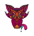 doodle ornamental wolf tatoo personage vector image