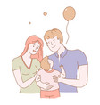 family of young people man and woman couple vector image vector image
