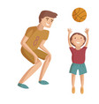 father and child basketball cartoon vector image