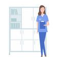 female character with clipboard doctor physician vector image vector image