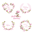 Flower Magnolia Banners and Tags Floral Wreath Set vector image