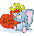 funny elephant with red heart - Happy Valentines vector image vector image