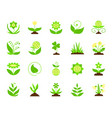 garden simple flat color icons set vector image
