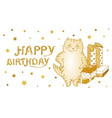 greeting card and poster with golden cat with gift vector image vector image