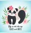 greeting card with cute panda in hand drawn style vector image vector image