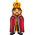 handsome king cartoon standing with smile vector image vector image