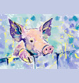 happiness pink pig gouache vector image vector image