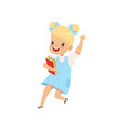happy little girl jumping with books cute kid vector image vector image