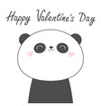 happy valentines day panda bear face head line vector image vector image