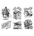 honey and bees set honeycombs and hive and apiary vector image vector image