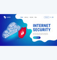 isometric internet security landing vector image vector image