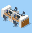 isometric massive computer table with four vector image