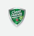 logo clean hands aloe green shield sanitizer vector image vector image