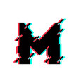 logo letter m glitch distortion diagonal vector image
