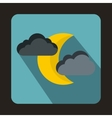 Moon and clouds icon flat style vector image vector image