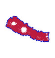 nepal country silhouette with flag on background vector image vector image