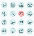 network icons set with chatting approv share and vector image vector image