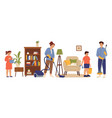 people cleaning home family living room mom vector image vector image
