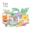 petshop poster contains cage for cats and dogs vector image