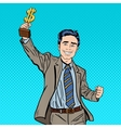 Pop Art Businessman with Golden Winners Cup vector image vector image