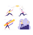 set businesspeople catching money with net vector image vector image
