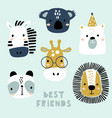 set cute animal faces creative animal print vector image