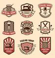 set of vintage tailor shop emblems design vector image