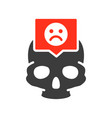 skull with sad face in speech bubble colored icon vector image vector image