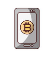 smartphone bitcoin money virtual icon isolated vector image