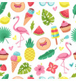 summer seamless pattern tropical flamingo ice vector image vector image