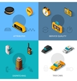 Taxi isometric 4 flat icons square vector image