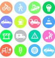 Traffic application icons in color circles vector image vector image