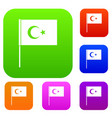 turkish flag set color collection vector image vector image