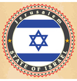 Vintage label cards of Israel flag vector image