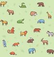 wild animals symbols color linear icon set vector image vector image