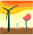 Wind Turbine landscape Wind energy vector image