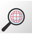 world globe icon magnifying glass vector image