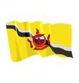 political waving flag of brunei vector image