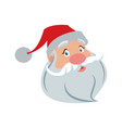 santa clause face with beard and hat cartoon vector image