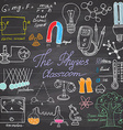 Physics and science elements doodles icons set vector image