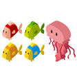 3d design for jellyfish and many fish vector image vector image