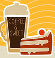 a cup of coffee and cake vector image