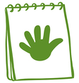 A green notebook with a drawing of a hand vector image