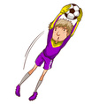 A soccer player catching the ball vector image vector image